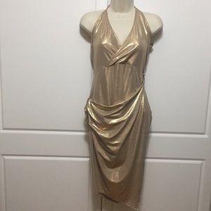 Nasty Gal Gold Metallic Wrap-over Halter Dress